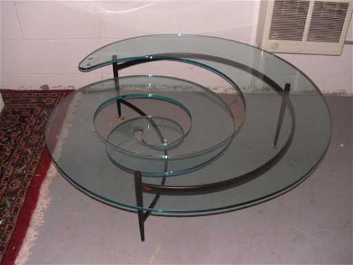 1119 Very Unique Swirl Glass Coffee Table With Metal B