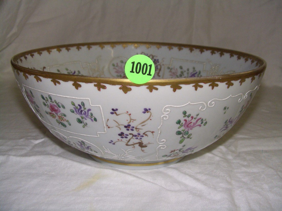 1001: vintage asian porcelain floral bowl l 4 x 9 3/4 C