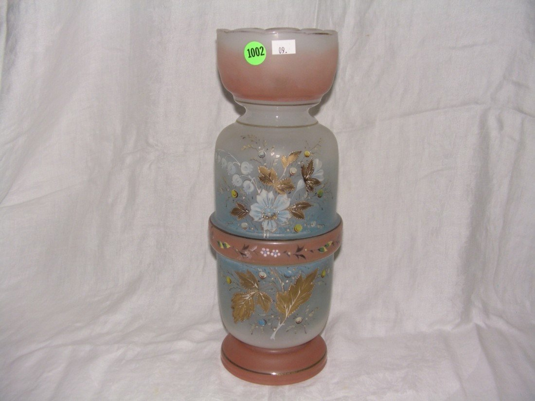 1002: antique hand painted blown glass floral vase 13 i