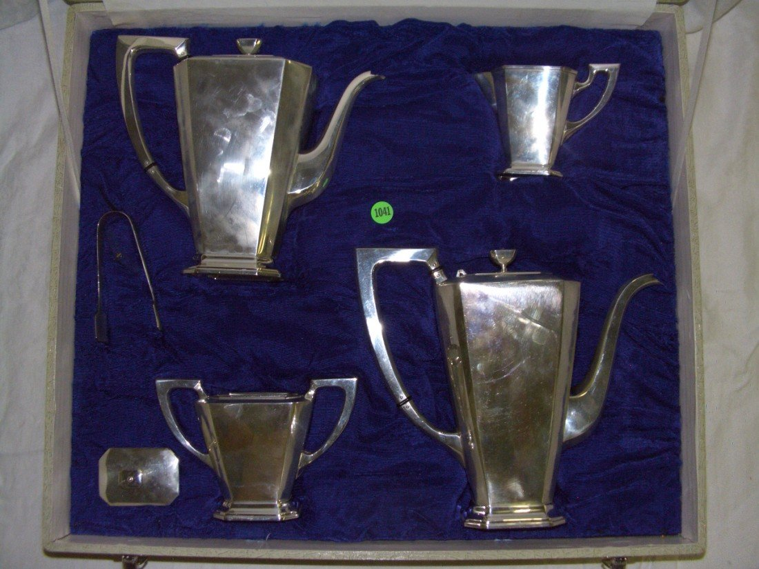 1041: fabulous sterling 950 art deco tea & coffee set w