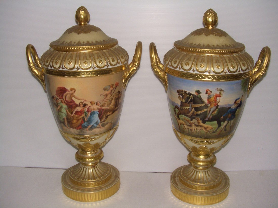 1042B: Museum Quality antique hand painted Dresden urns