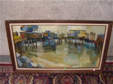 1075 oil painting on canvas by listed California artis