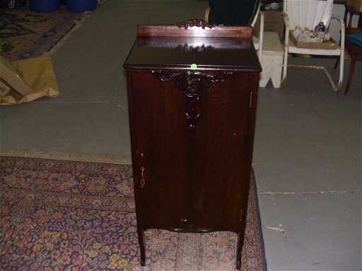 - 1110: Antique Sheet Music Cabinet With Applied Carvings