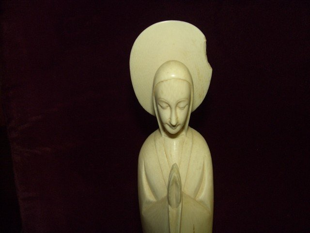 1124: tall antique Ivory carved Madonna statue as seen - 2