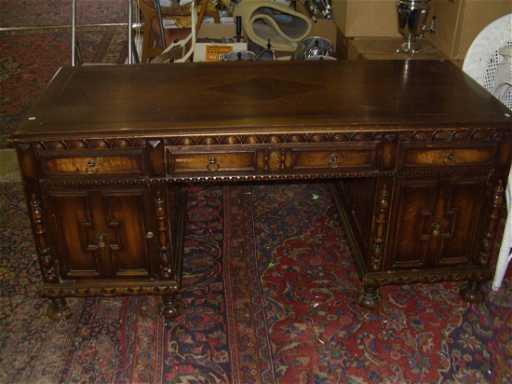 - 1167: Dark Oak Antique Desk With Faux Partners Desk Sid