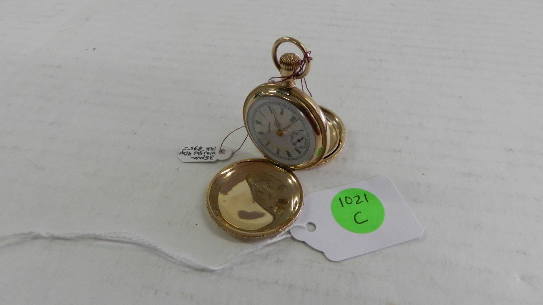 1021C: stunning antique stamped 14KT gold hunters case