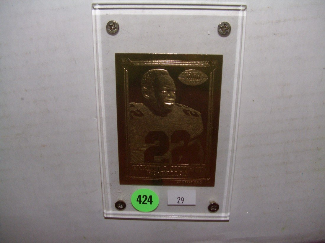 424: Emmitt Smith gold plated card in case