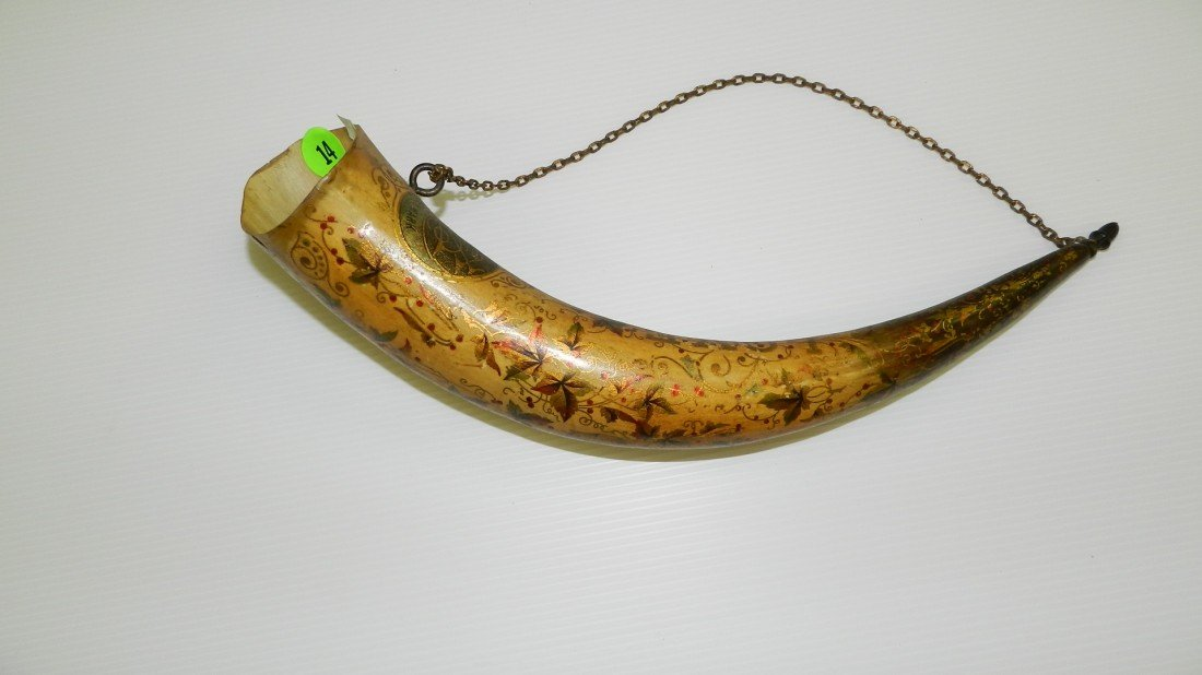 14: antique hand painted powder horn  C-43