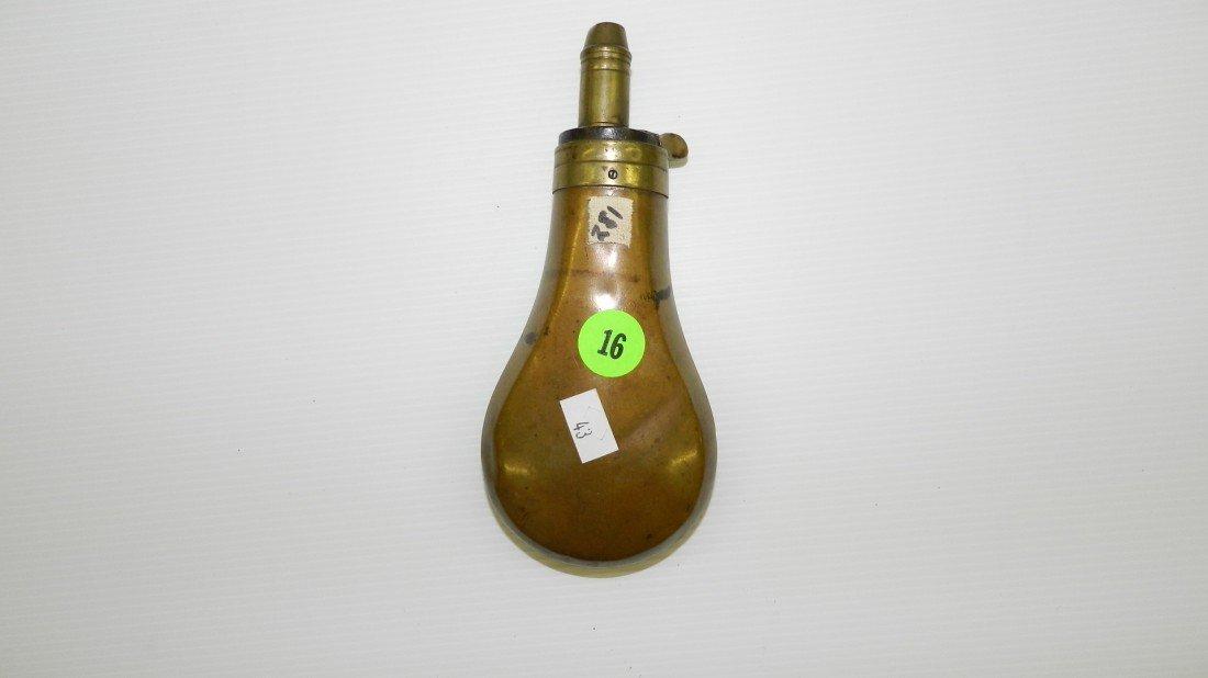 16: antique brass / bronze powder horn civil? horn 6 1/