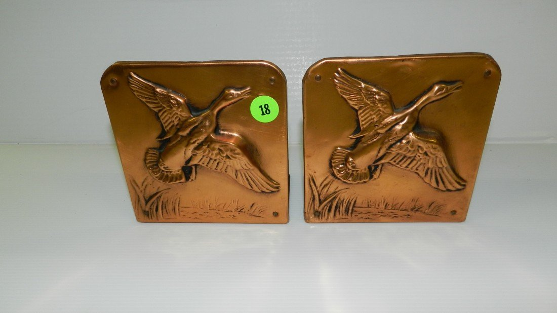 18: 2 piece copper bookends with ducks in flight 5x5  C