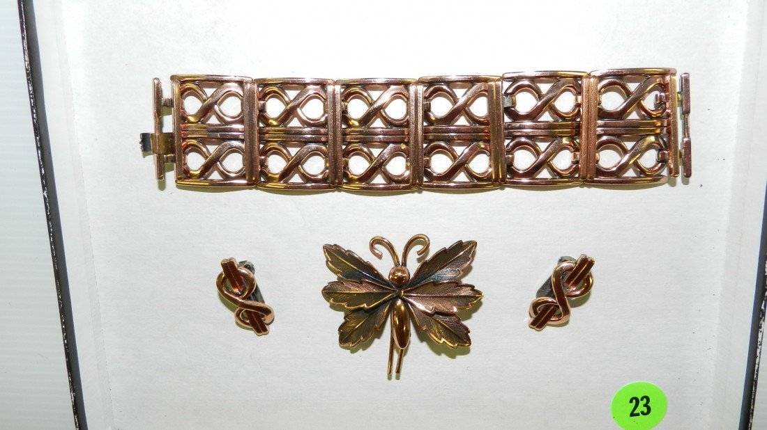 23: group of copper jewelry (butterfly signed Copper Be