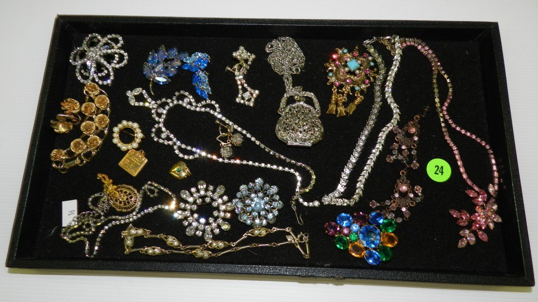 24: vintage tray of estate jewelry (no tray) C-16