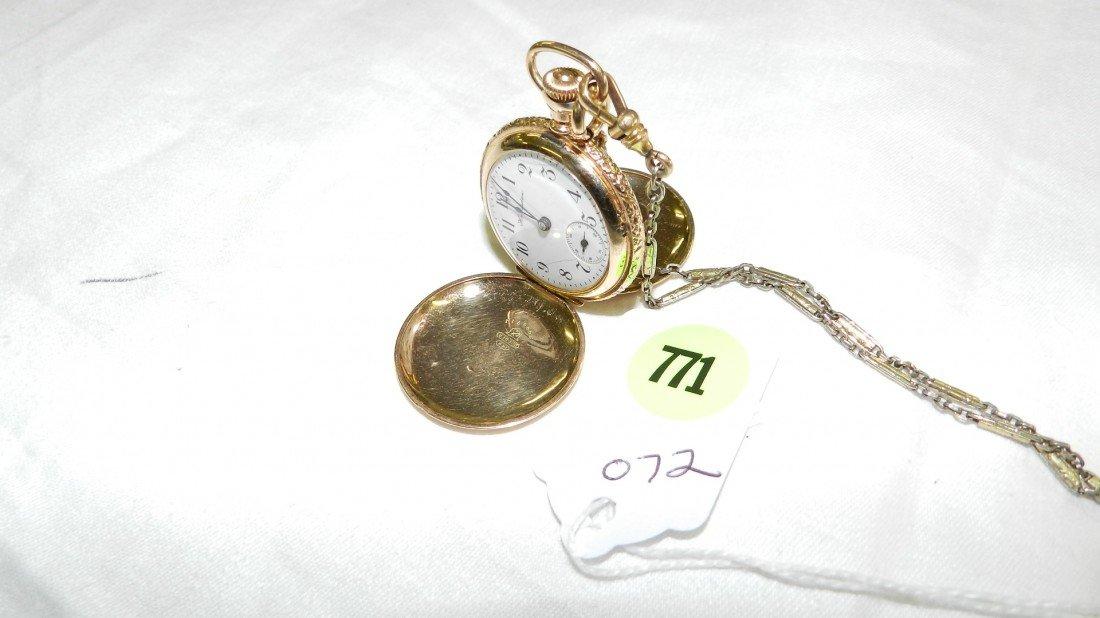 771: antique 14KT gold pocket watch hunters case (stamp