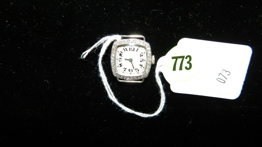 773: stamped Platinum and diamond ladies wrist watch (n