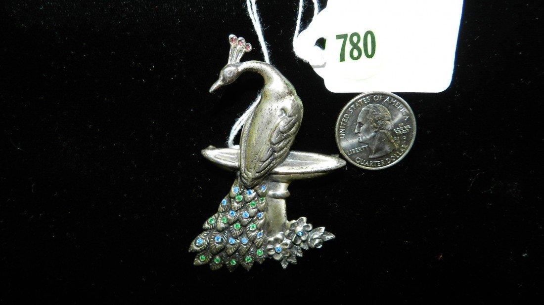 780: nice stamped sterling estate brooch (Peacock)