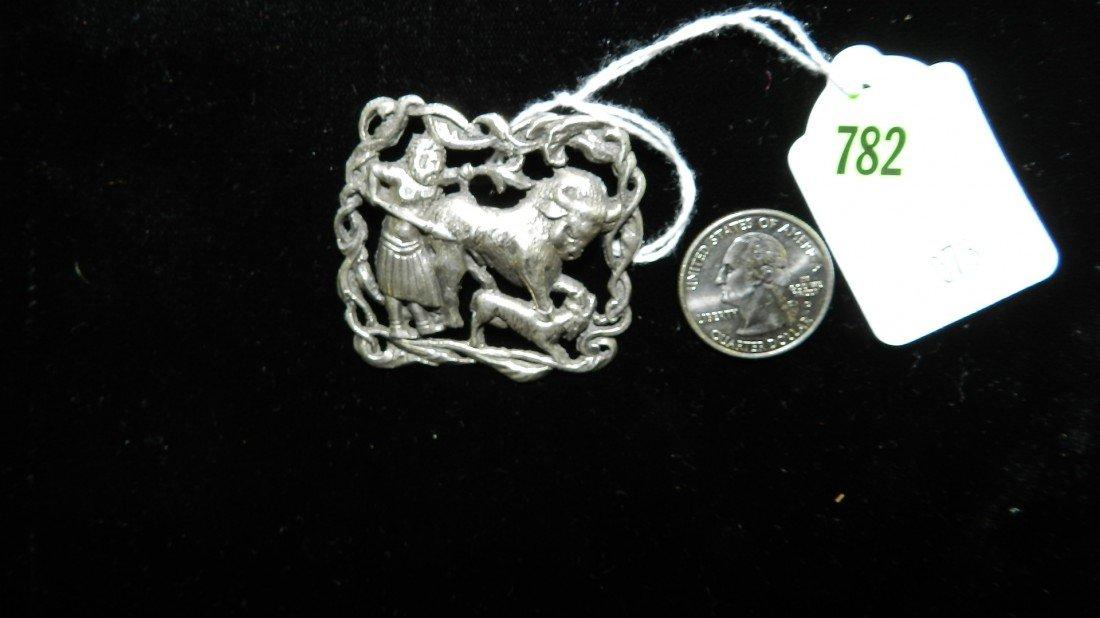 782: nice sterling estate brooch