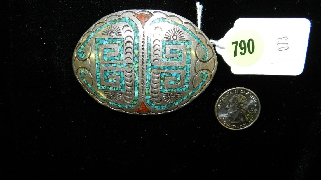 790: wonderful Native American sterling and turquoise b
