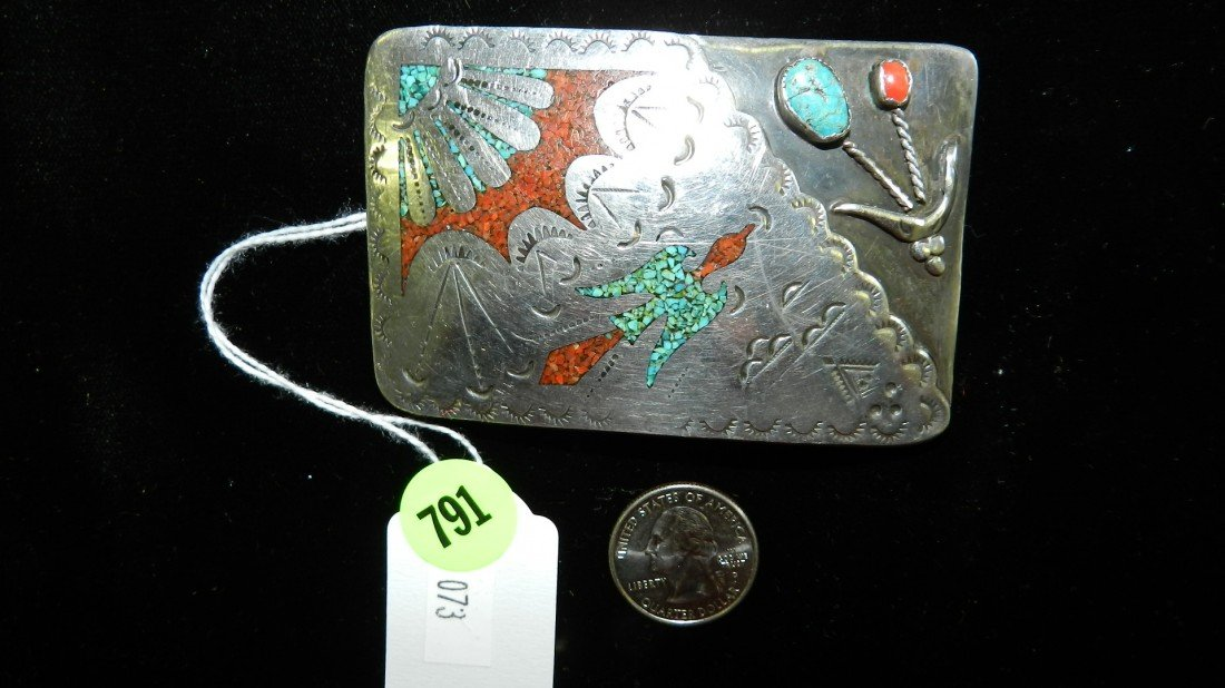 791: wonderful Native American sterling and turquoise b