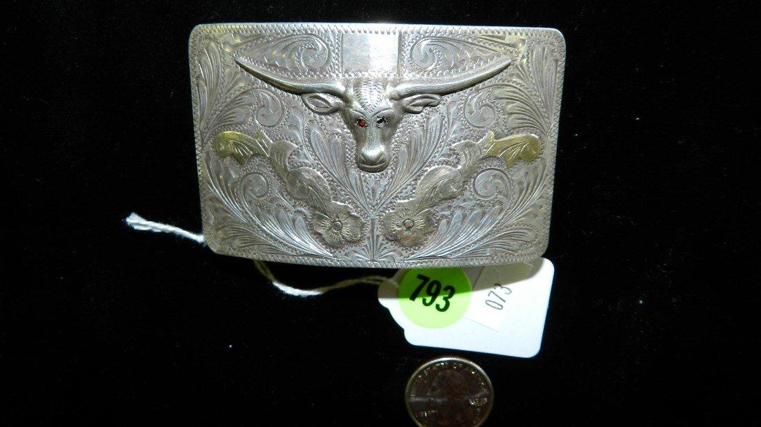 793: wonderful  sterling steer belt buckle