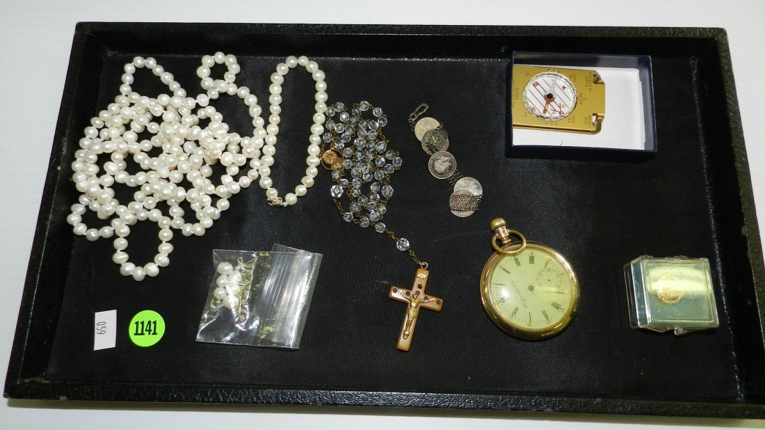 1141: tray of estate jewelry & collectibles (no tray)