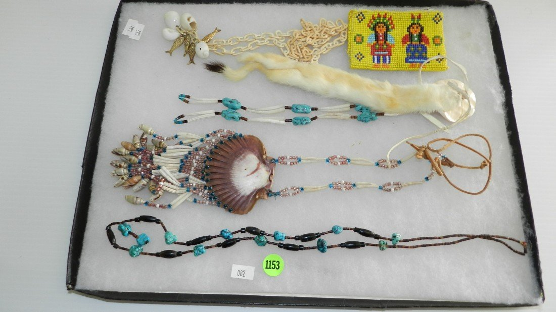 1153: tray of estate jewelry Native American items (no
