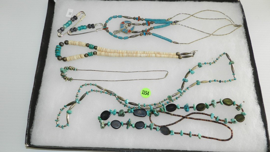 1154: tray of estate jewelry Native American items (no