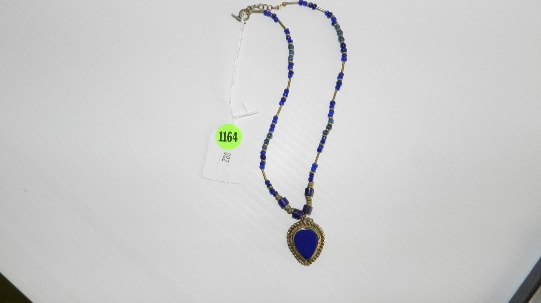 1164: vintage trade bead style necklace with pendant