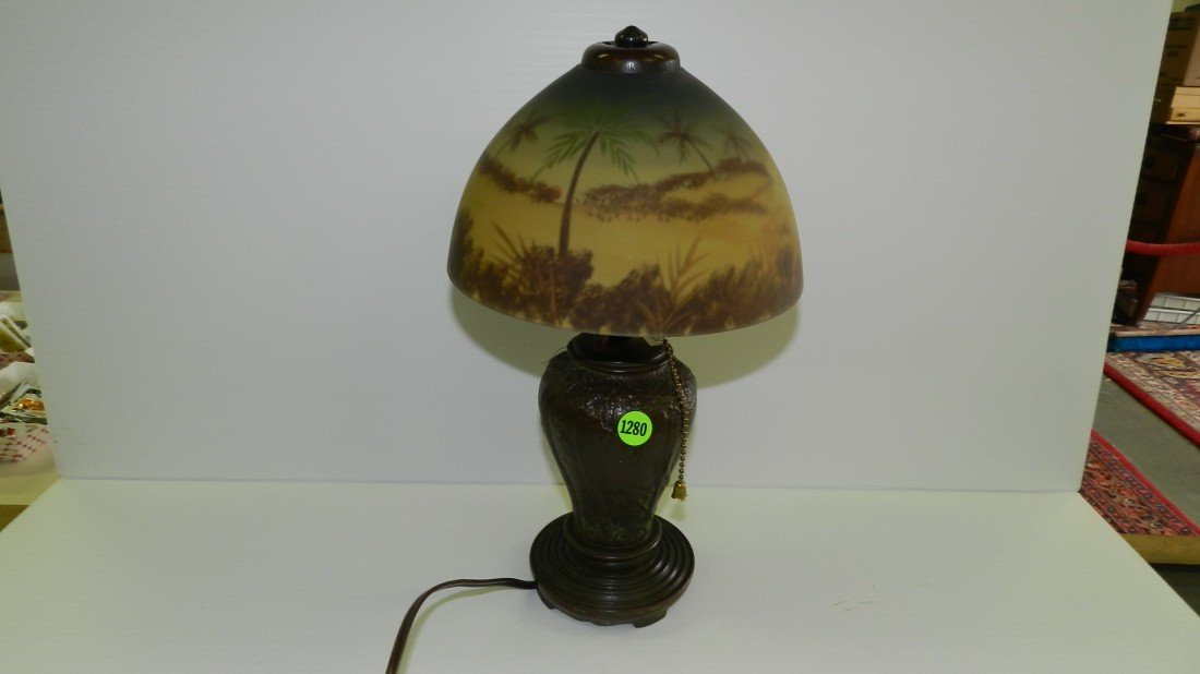 1280: bronze base lamp (stamped Handel?) with painted s