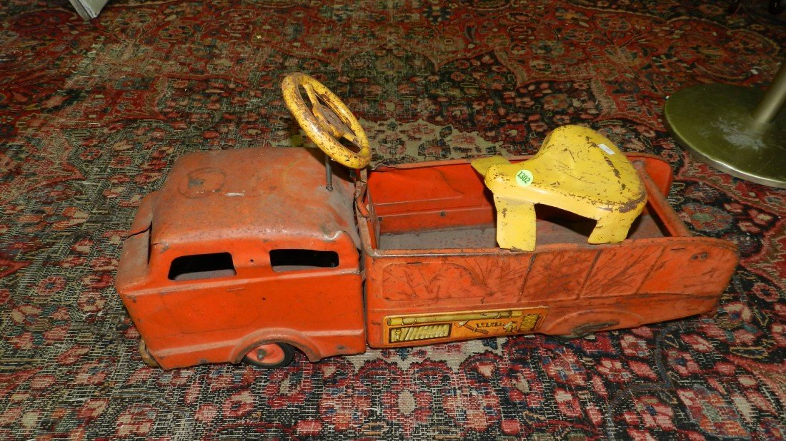 1302: childs antique metal toy ride on fire truck, as s