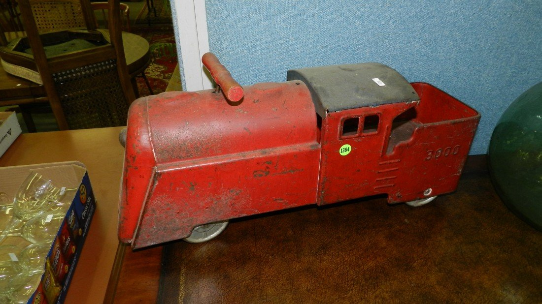 1364: childs antique metal toy ride on toy train engine