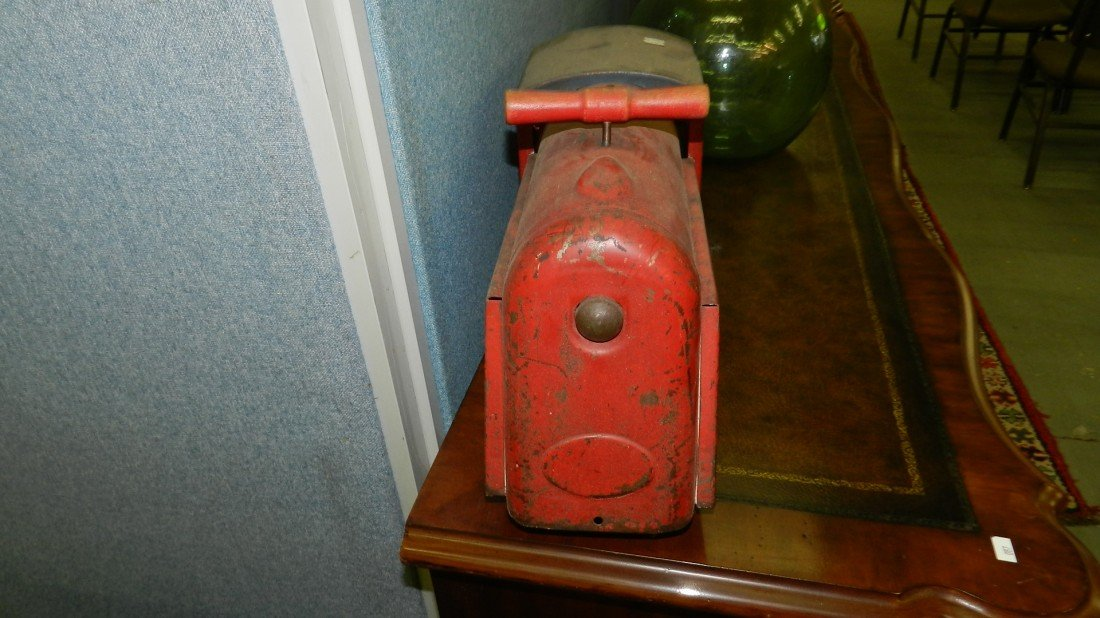 1364: childs antique metal toy ride on toy train engine - 2