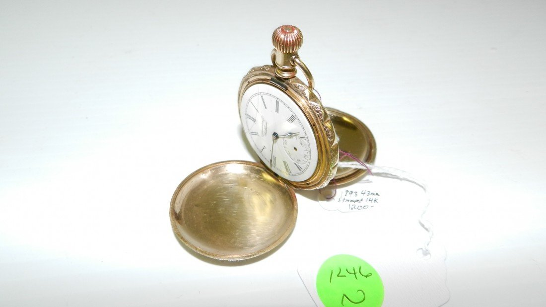 1246N: mens antique gold 14KT stamped pocket watch by W