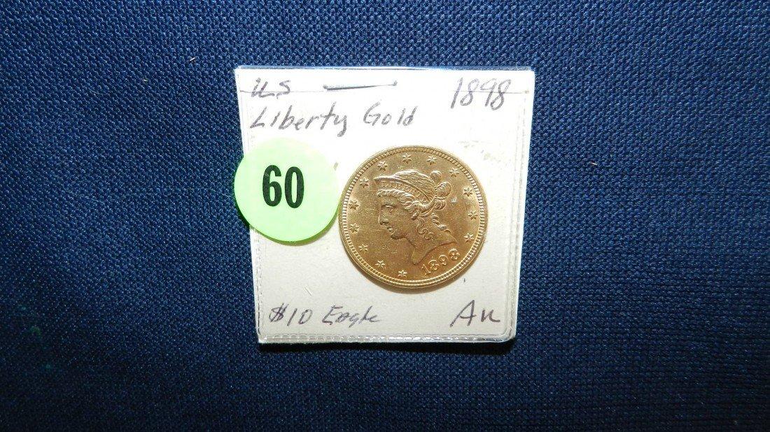 60: US ten ($10.00) dollar LIBERTY GOLD Eagle coin