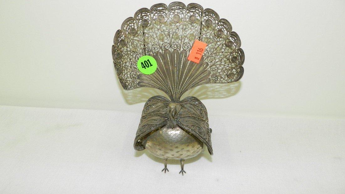 401: fancy filigree peacock sterling figure, stamped 92