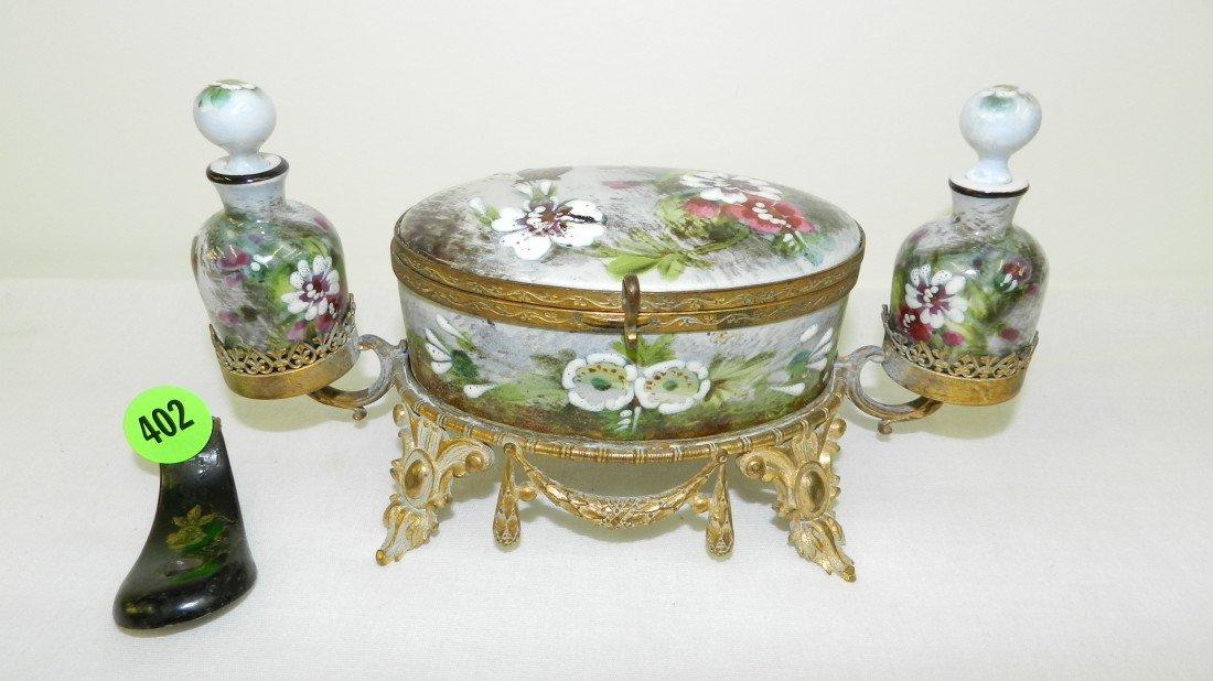 402: victorian enameled painted perfume dresser set, wi
