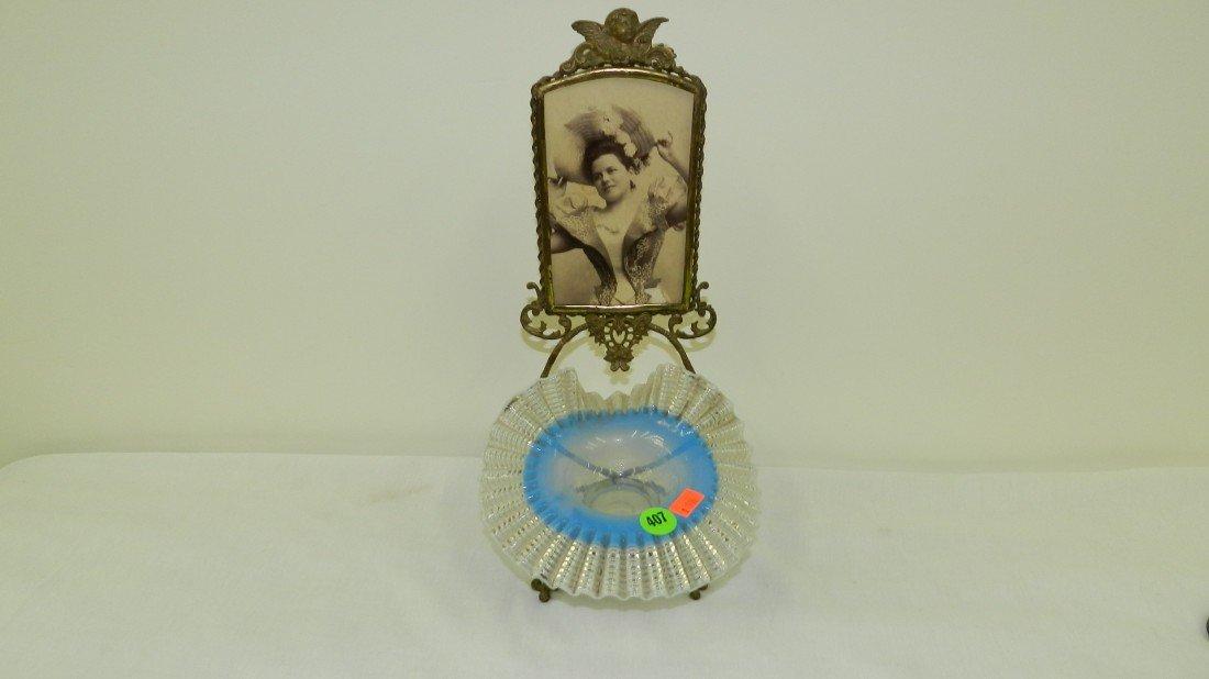 407: wonderful Victorian dresser hair pin fluted bowl w