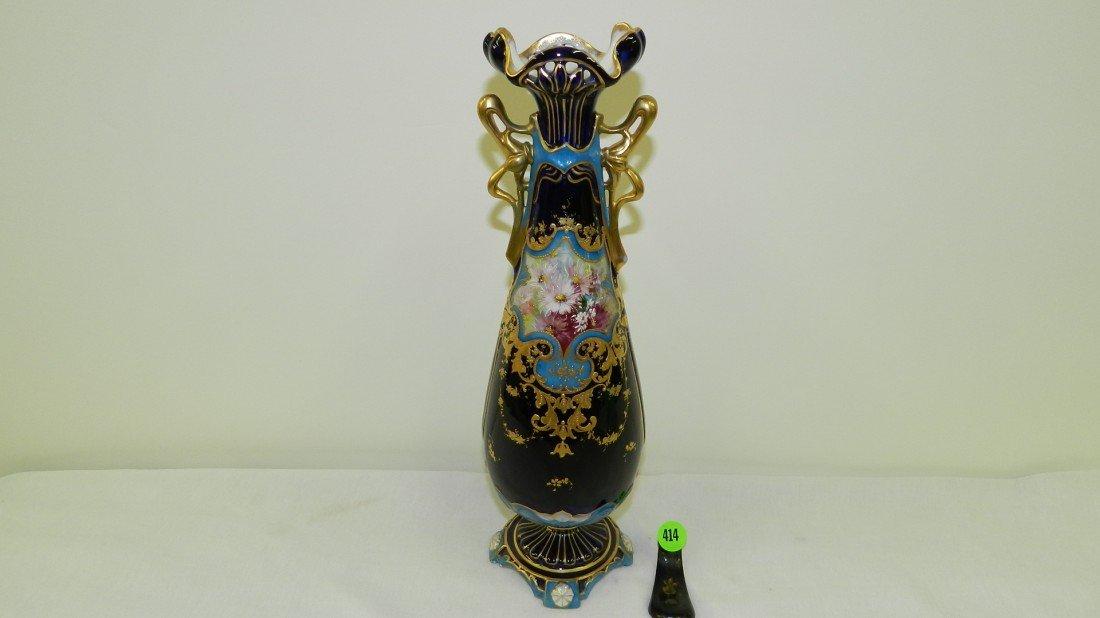 414: beautiful art nouveau porcelain cobalt floral vase