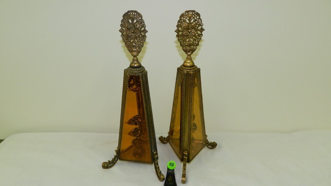 416: 2 piece massive perfume bottles with amber glass s