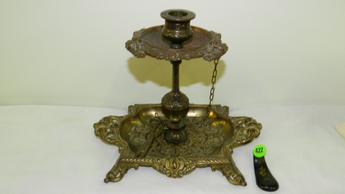 422: vintage Victorian style bronze / brass single cand