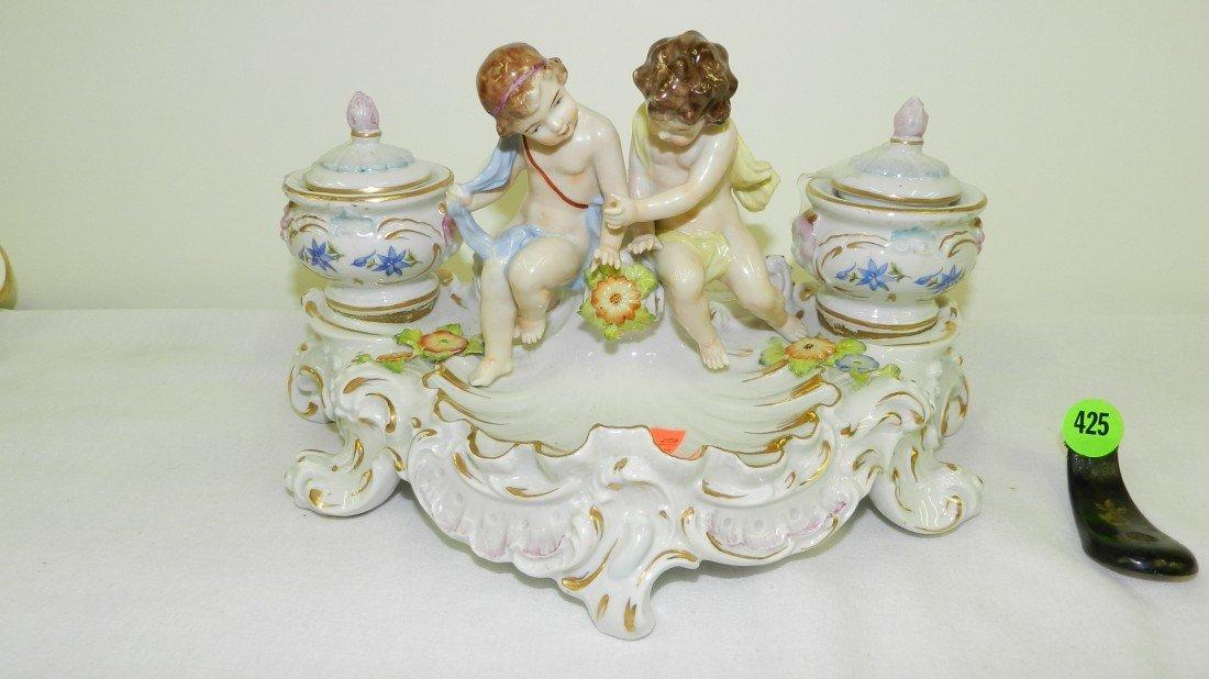 425: VICTORIAN Porcelain Putti Cherub w 2 Inkwell Dresd