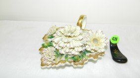 Unique Vintage Italian Porcelain Floral Inkwell W/