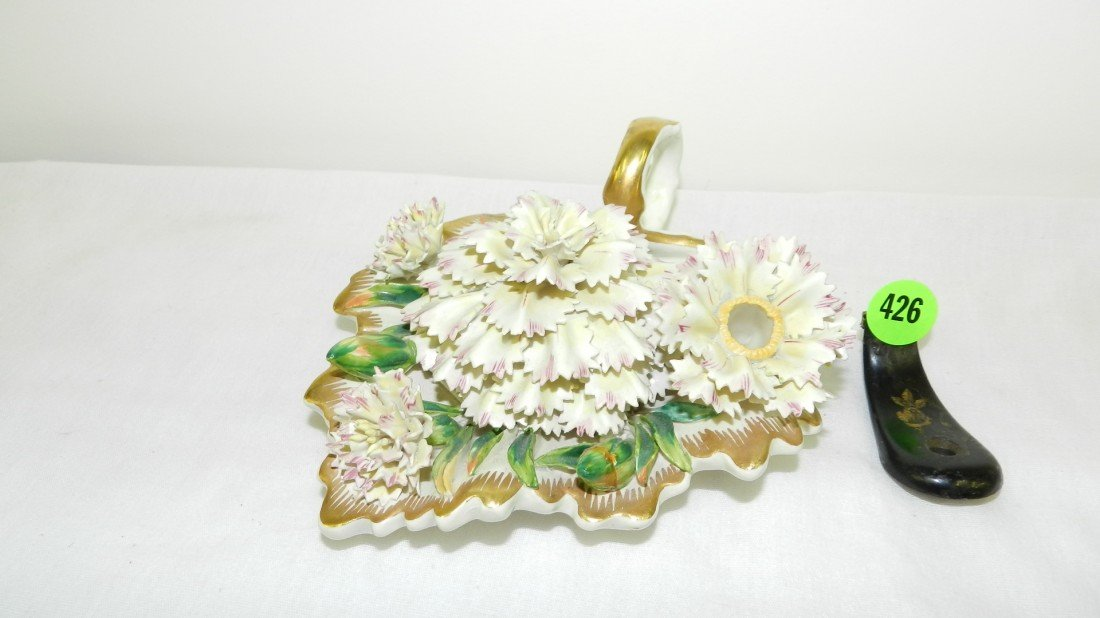 426: unique vintage Italian porcelain floral inkwell w/
