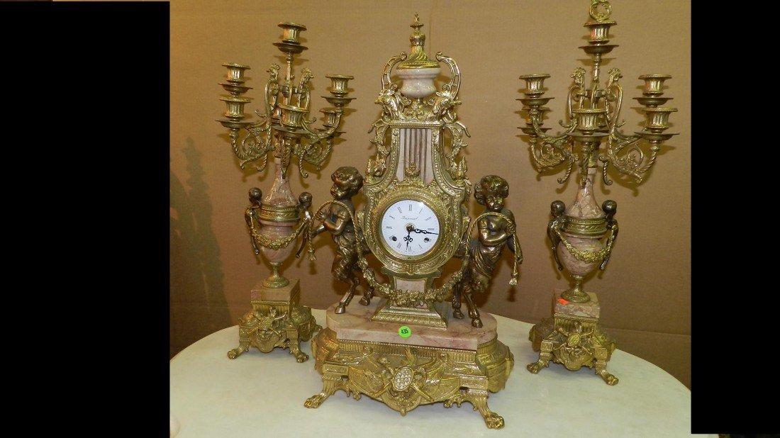 435: BEAUTIFUL 3 PIECE IMPERIAL CLOCK & CANDELABRA CUPI