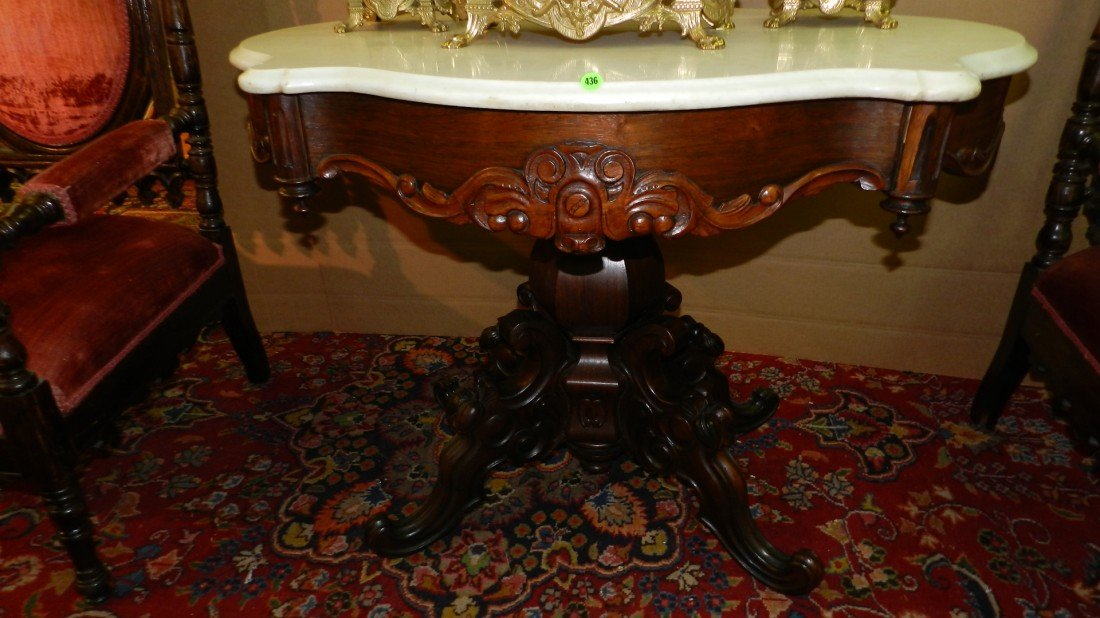 436: Renaissance Revival Oval Marble Topped Center Tabl