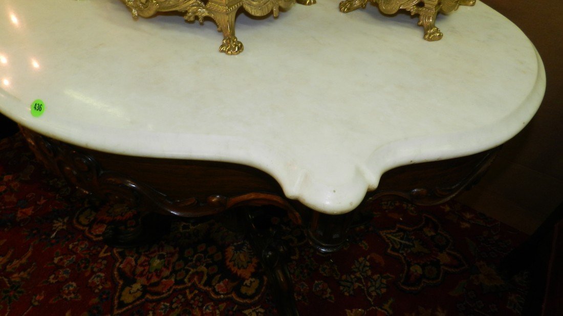 436: Renaissance Revival Oval Marble Topped Center Tabl - 2