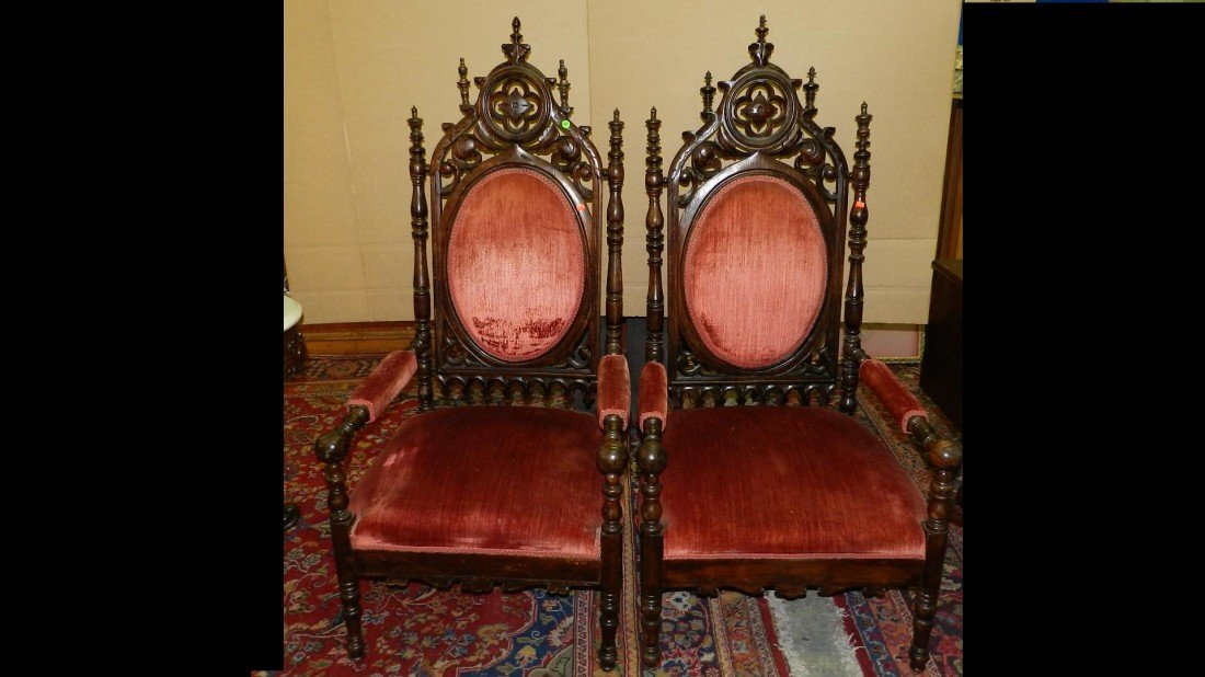 437: pair of Magnificent Early 1800's Pierce Carved Roc