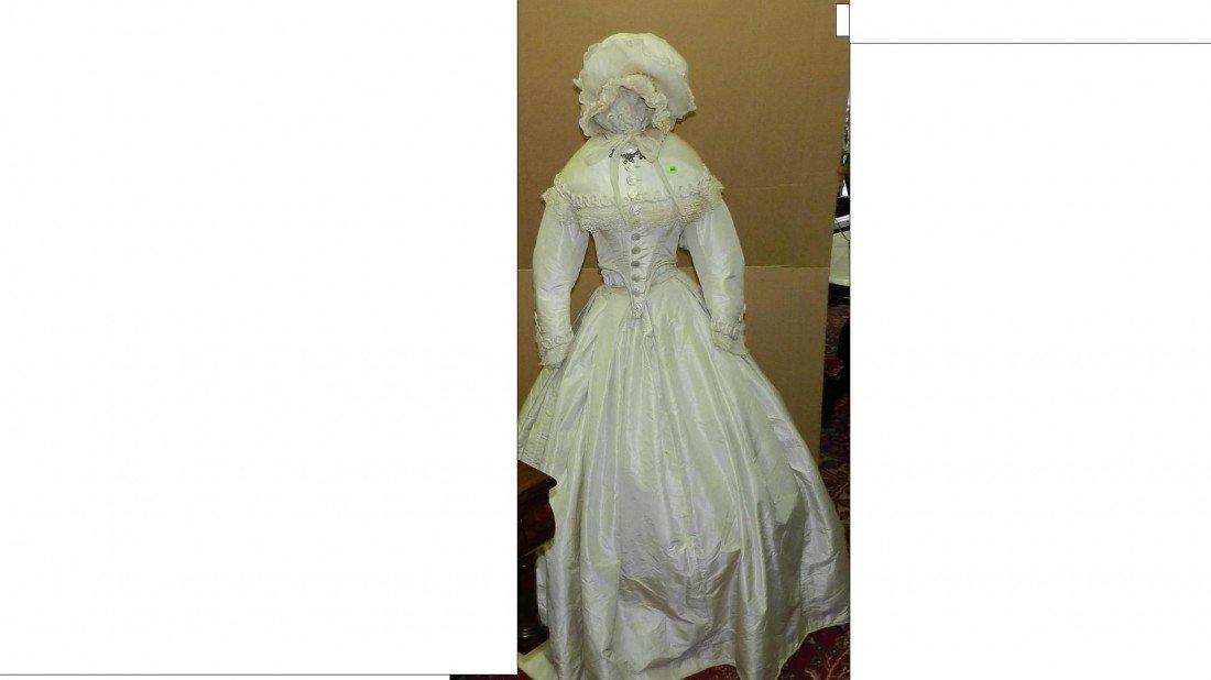 440: Victorian era white fringe day dress bustle hoop s