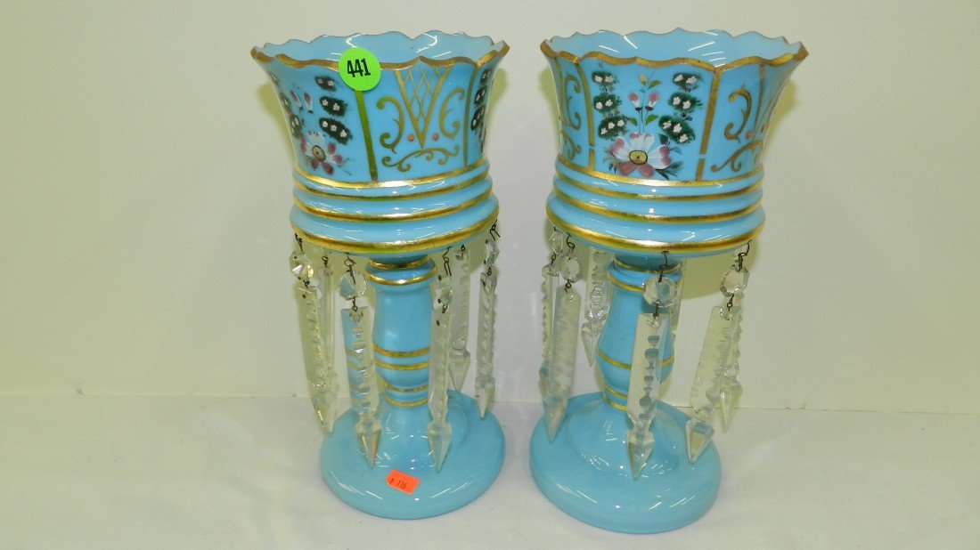 441: Pair Antique French Victorian blue Glass hand pain
