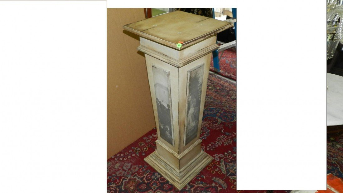 446: nice wood distressed painted fern / bust stand SSR