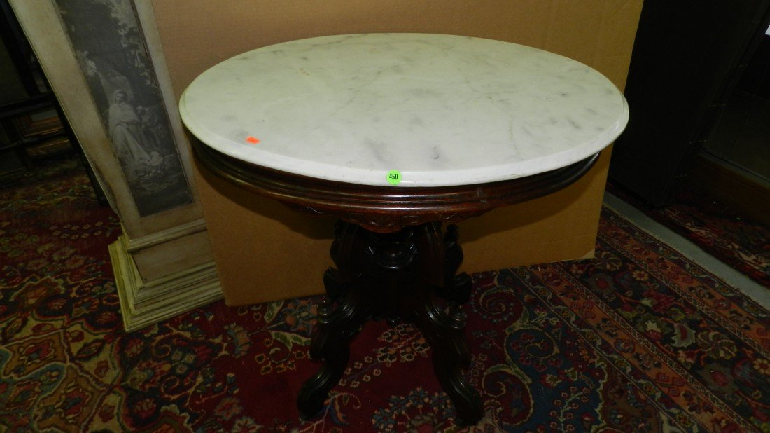 450: Victorian oval marble top walnut parlor table